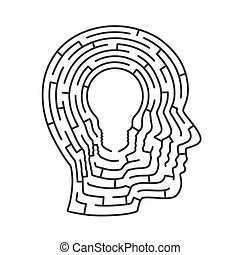 Head idea labyrinth.  lamp sign