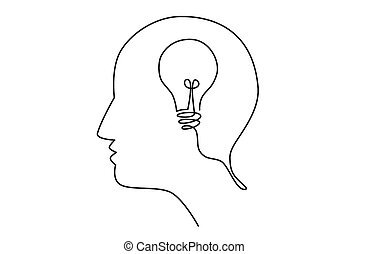 Head idea with light bulb inside human head, creating new idea concept, vector illustration