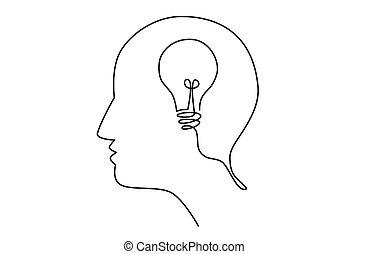 Head idea with light bulb inside human head, creating new idea concept, vector illustration