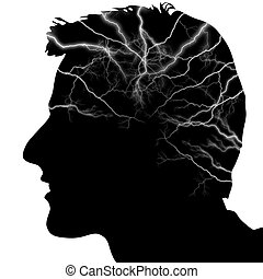 Head - Illustration of a silhouette of a head with ...