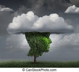 Head in the cloud concept as a tree shaped as the face of a person with clouds covering the top as an imagination metaphor for contemplation and meditation or negative and negativity character trait.
