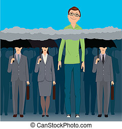 Head in the clouds - A very tall smiling man standing an a...