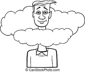 head in the clouds saying cartoon - Black and White Cartoon ...