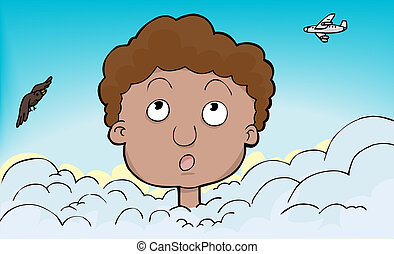 Young person with head in the clouds with plane and bird