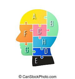 Head info puzzle sign, template design element, Vector illustration