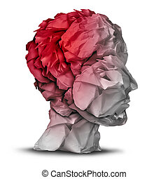 Head injury and traumatic brain accident medical and mental health care concept with a group of crumpled office paper shaped as a human mind with red highlighted area as a symbol of trauma problem.