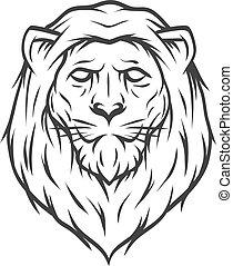 head., leone, arte, linea, style.