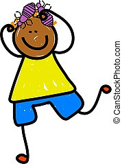 head lice kid - Happy cartoon drawing of an ethnic boy...