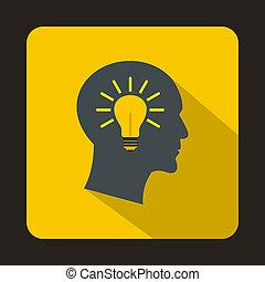 Head light bulb idea icon, flat style