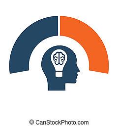 Head, lightbulb, brain. Conceptual idea template infographic. 2 positions for text area