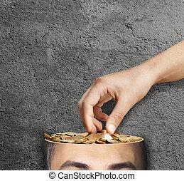 head., mão, dinheiro, roubando