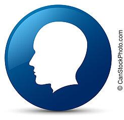 Head male face icon blue round button