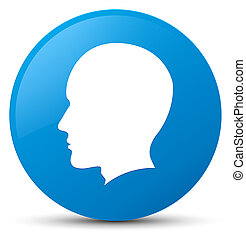 Head male face icon cyan blue round button