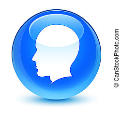Head male face icon glassy cyan blue round button