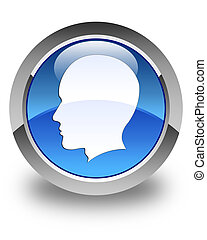 Head (male face) icon glossy blue round button