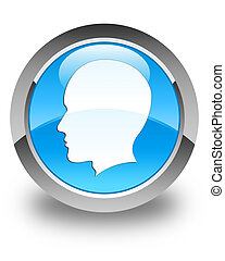Head (male face) icon glossy cyan blue round button