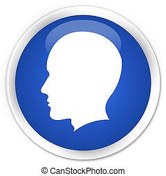Head (male face) icon premium blue round button