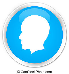 Head male face icon premium cyan blue round button