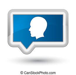 Head male face icon prime blue banner button