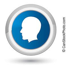 Head male face icon prime blue round button