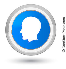 Head male face icon prime cyan blue round button