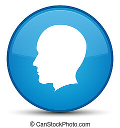 Head male face icon special cyan blue round button