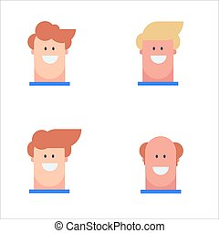 Head Man Collection Character Flat design Illustration Vector