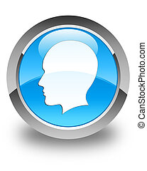 Head (men face) icon glossy cyan blue round button
