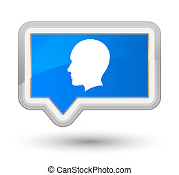 Head men face icon prime cyan blue banner button