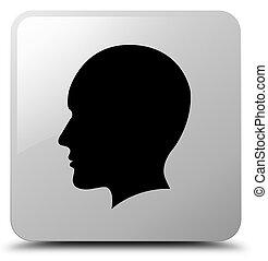 Head men face icon white square button