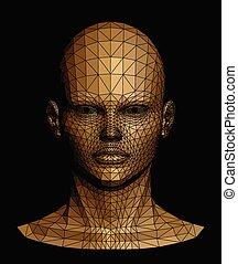 head., menselijk, vector, goud, illustratie