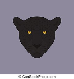 Head of a black panther with orange eyes.