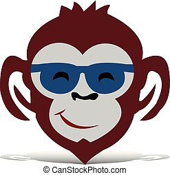 Head of a brown monkey with glasses, cartoon on a white background,