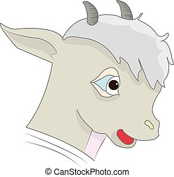 Head of a cartoon gray lamb, on a white background