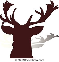 Head of a deer close-up, brown silhouette on a white background,