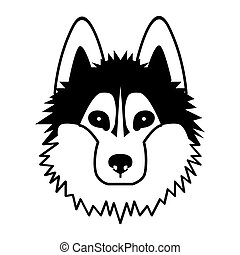 head of a dog. Black vector picture