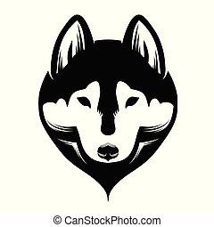 Head of a dog siberian husky. Black and white.