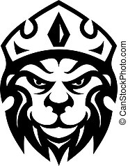 Head of a fierce crowned lion depicting royalty in a black...