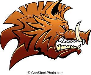Head of a fierce snarling wild boar - Head of a fierce...
