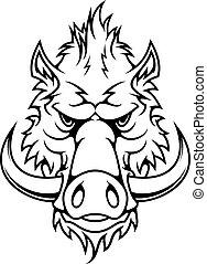 Head of a fierce wild boar - Black and white head of a...