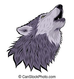 Head of a howling wolf on the moon isolated on a white background. Vector graphics.