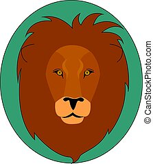 Head of a lion, illustration, vector on white background.