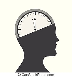 head of a man with clock in the brain