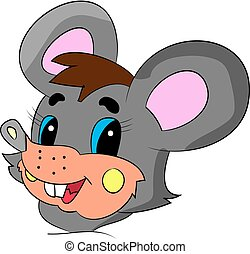 Head of a merry gray mouse cartoon on a white background.