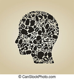 Head of the person from body parts. A vector illustration