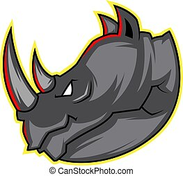 Head of a Rhino illustration vector on white background