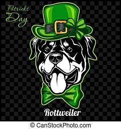 Head of a Rottweiler Dog and elements of St. Patricks Day. ...