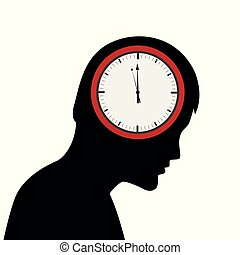 head of a sad man with clock in the brain