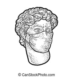 head of a statue of david in medical mask sketch engraving vector illustration. T-shirt apparel print design. Scratch board imitation. Black and white hand drawn image.