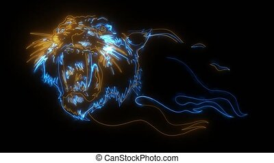 Head of a tiger in tongues of flame. video animation